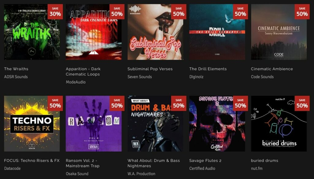 Scary Sound Sample Packs 50% Off